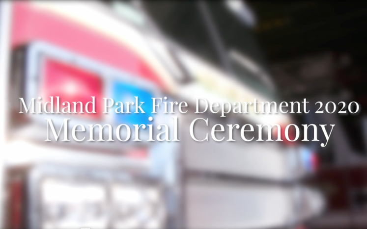 White text that says Midland Park Fire Department Memorial Day Ceremony over a picture of fire truck